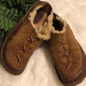 Born leather fur lined mules
